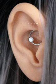 Naxx Opal or Crystal Ear Piercing Hoop Silver 16G Captive Bead Ring