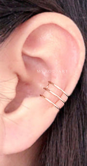 Simple Minimalist Ear Cuff Gold Earring Fashion Jewelry Ideas Fake Conch Piercing -  joyas de aretes de oreja minimalista - www.MyBodiArt.com