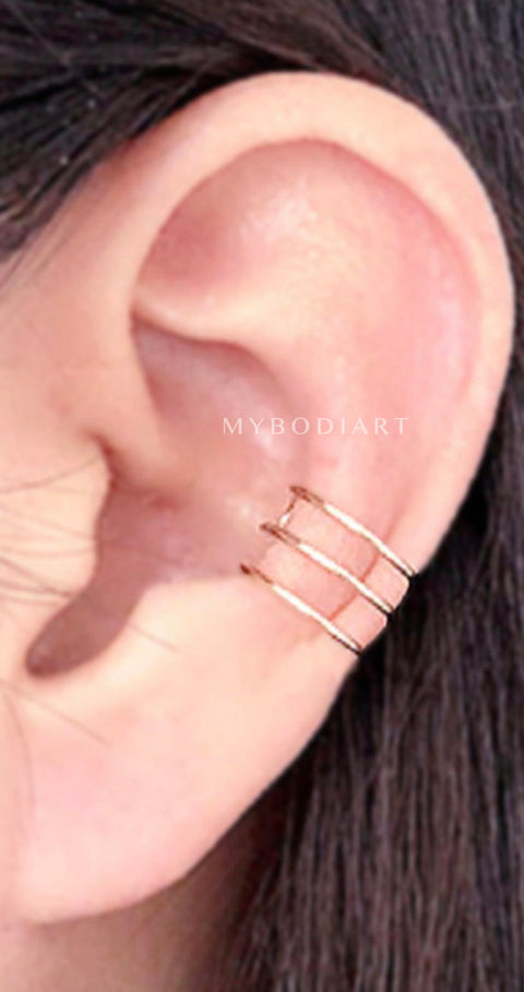 Evee Minimalist Wired Ear Cuff Earring In Gold Or Silver Mybodiart