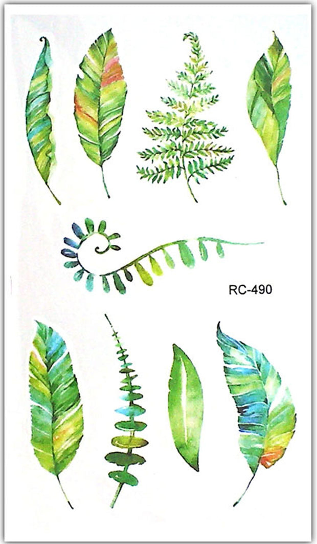 Small Watercolor Leaf Leaves Nature Temporary Tattoos for Women for Teen Girls - www.MyBodiArt.com #tattoos