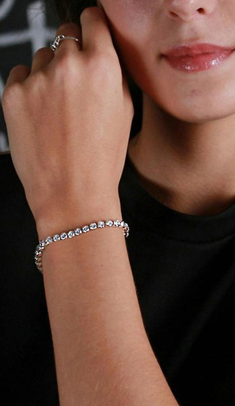 Cute Modern Crystal Tennis Adjustable Box Chain Bracelet in Silver - www.MyBodiArt.com