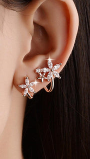 Cute Ear Piercing Ideas for Teens - Crystal Flower Spiral Ear Climber Crawler Stud Earrings - cristal flor espiral oreja trepador crawler stud pendientes - www.MyBodiArt.com