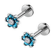 Blue Crystal Flower Ear Piercing Jewelry Earring Stud for Cartilage Helix Tragus Conch Medusa Labret Jewelry Jewellery - www.MyBodiArt.com