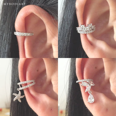 Cute Crystal Ear Cuff Earring for Conch Cartilage Piercing Jewelry -  lindas ideas para perforar orejas - www.MyBodiArt.com