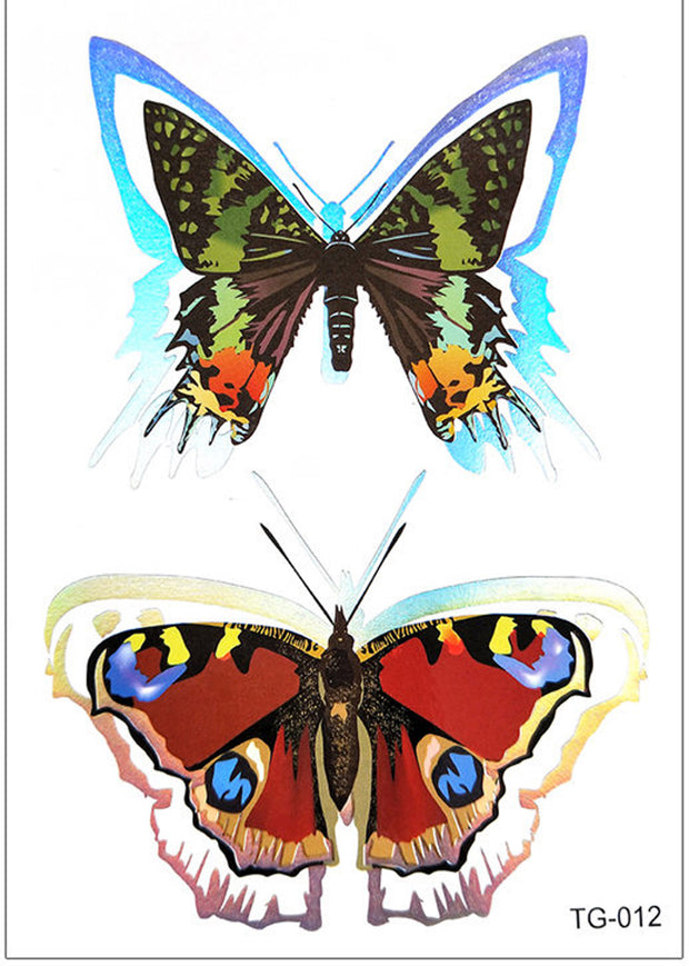 Breen Metallic Watercolor Butterfly Temporary Tattoo - www.MyBodiArt.com #tattoos