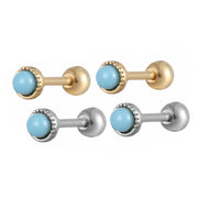 Turquoise Round Ear Piercing Jewelry 16G Cartilage Helix Conch Tragus Earring Stud in Silver or Gold - www.MyBodiArt.com
