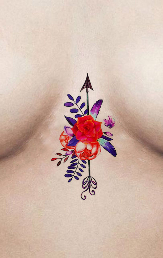 Unique Rose Arrow Sternum Tattoo Ideas for Women - Colorful Watercolor Floral Flower Boob Tat - www.MyBodiArt.com #tattoos