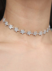 Cool Chunky Crystal Star Choker Necklace Statement Fashion Jewelry for Women in Rose Gold Silver - collar gargantilla estrella de cristal - www.MyBodiArt.com #necklace