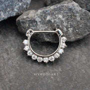Swarovski Silver Daith Earring, Rook Piercing, Septum Clicker at MyBodiArt.com