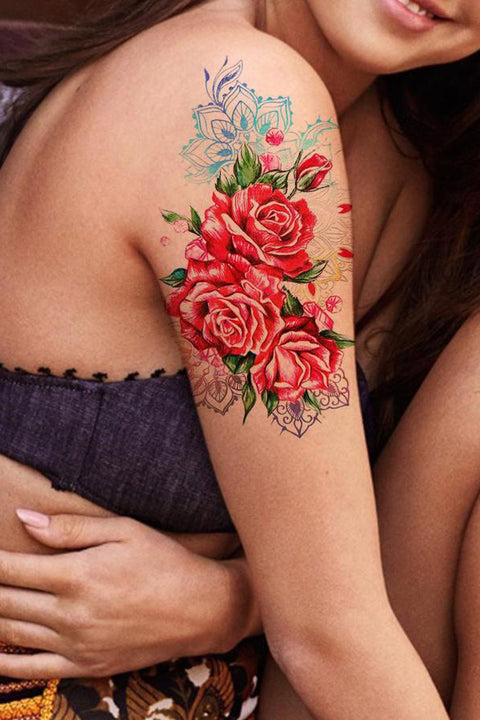 Watercolor Rose Arm Sleeve - Metallic Traditional Flora Floral Tattoo Ideas for Women - ideas de tatuaje de manga de brazo de rosa para mujeres - www.MyBodiart.com #tattoos