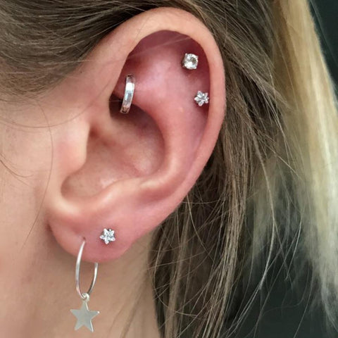 Cute Star Cartilage Helix Earring Studs Multiple Ear Piercing Ideas for Women -  lindas ideas de piercing de oreja para mujeres - www.MyBodiArt.com