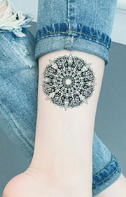 Geometric Mandala Wrist Tattoo Ideas for Women - Black Henna Tribal Boho Lotus Arm Tat -www.MyBodiArt.com #tattoos