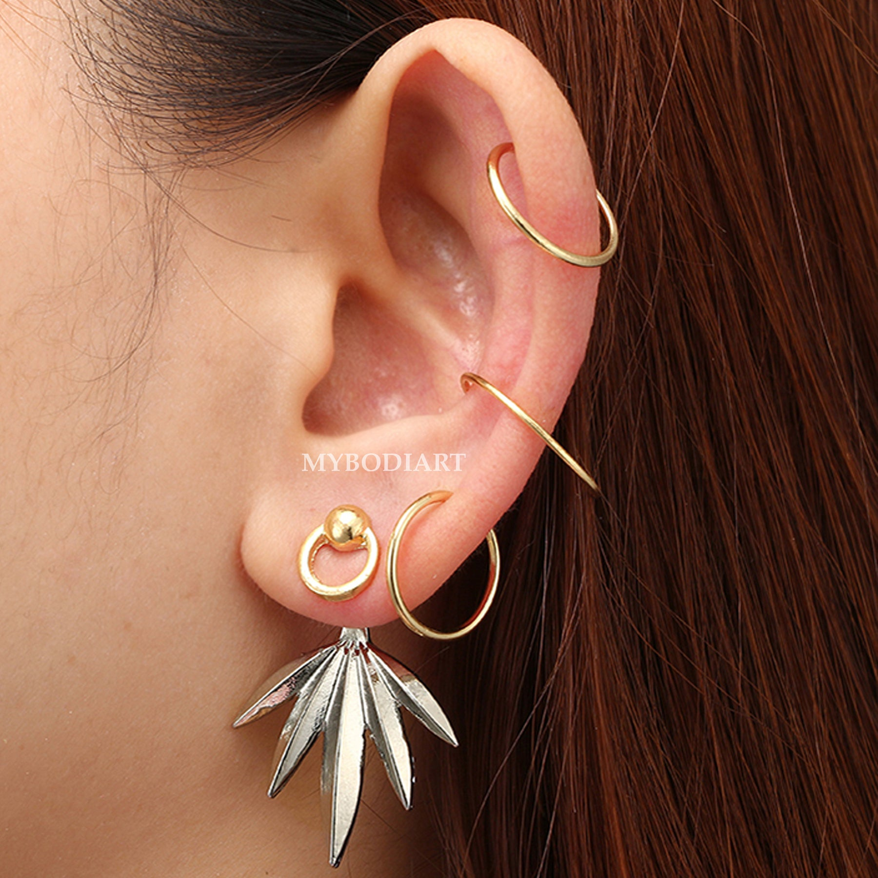 Bohemian golden chain earring with cauri shell /& grey blue pompon for helix piercing 1 only