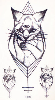 Small Tribal Egyptian Cat Tattoo Ideas for Women - Black Geometric Kitty Feminine Spirit Animal Tat - www.MyBodiArt.com #tattoos
