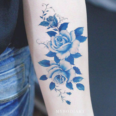 Beautiful Vintage Blue Flower Forearm Temporary Tattoo Ideas for Women Watercolor Floral Arm Tat - Ideas de tatuaje de brazo de acuarela azul para mujeres - www.MyBodiArt.com