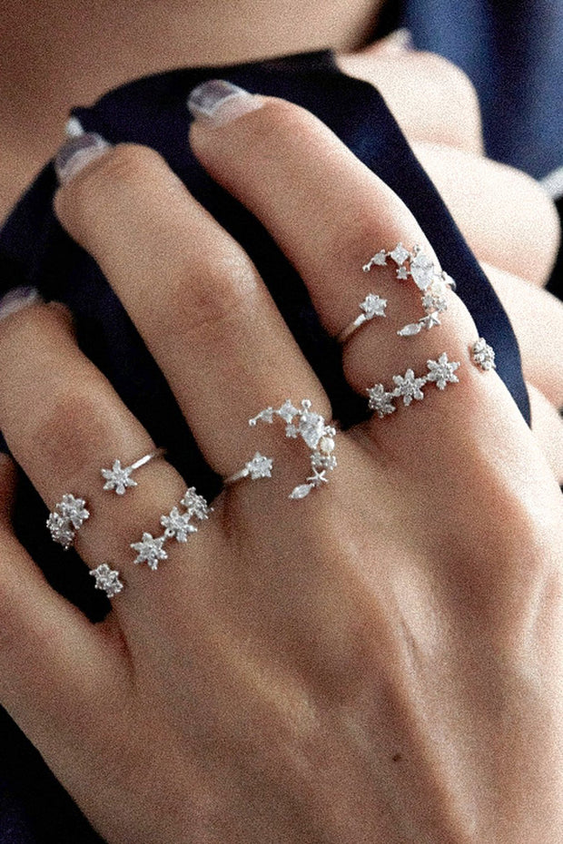 Cute Pretty Adjustable Stackable Midi Statement Rings Set - Crystal Moon Star Flower - Jewelry Jewellery -  conjunto de anillos de flores de cristal - www.MyBodiArt.com