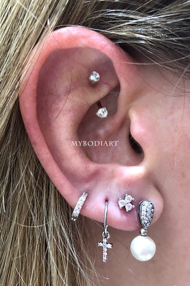 Simple Rook Curved Barbell Earring Multiple Ear Piercing Jewelry Placement Ideas - www.MyBodiArt.com