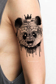 Cute Melting Panda Black and White Arm Sleeve Temporary Tattoo Ideas for Women - www.MyBodiArt.com