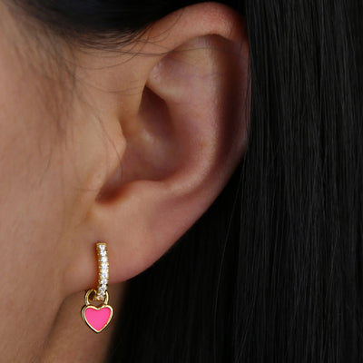 Cute Ear Piercing Ideas - Heart Gold Huggie Hoop Earring for Earlobe Cartilage Helix - www.MyBodiArt.com #earrings #piercings
