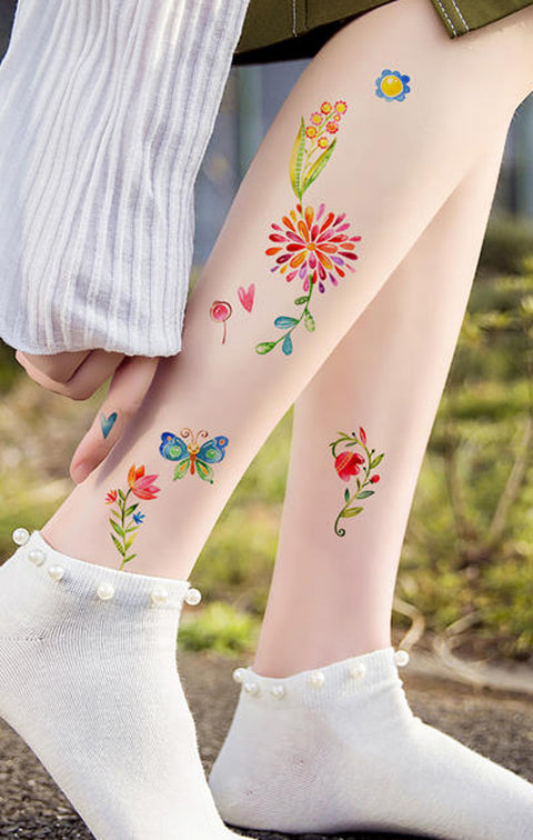 Small Flower Butterfly Feminine Delicate Watercolor Leg Tattoo Ideas for Women - www.MyBodiArt.com