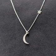 Dainty Modern Moon Pendant Floating Star Necklace for Teenagers for Women Bohemian -  collar de estrellas de la luna - www.MyBodiArt.com