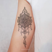 Tribal Boho Black Lace Mandala Chandelier Feather Arm Bicep Tattoo Ideas for Women -  Ideas de tatuaje de brazo para mujeres - www.MyBodiArt.com