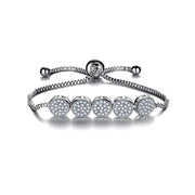Cute Stacked Pave Crystal 5 Circle Adjustable Box Chain Bracelet in Silver - www.MyBodiArt.com