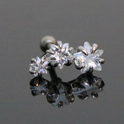 Crystal Triple Star Cartilage Helix Conch Ear Piercing Jewelry Ideas in Silver 16G for Women - www.MyBodiArt.com