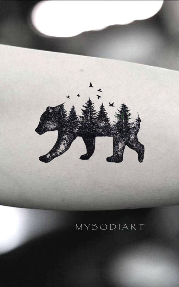 Unique Bear Tree Landscape Bicep Arm Tattoo Ideas for Women - Oso bíceps tatuaje para mujer - www.MyBodiArt.com