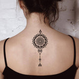 Tribal Black Henna Mandala Back Spine Tattoo Ideas for Women - Boho Lotus Spine Tat -mandala tribal volver ideas del tatuaje - www.MyBodiArt.com #tattoos