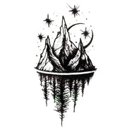 Acaia Small Black and White Nature Mountain Trees & Stars Temporary Tattoos