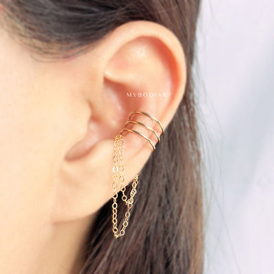 Simple Minimalist Chain Ear Cuff Gold Earring Fashion Jewelry Ideas Fake Conch Piercing -  joyas de aretes de oreja minimalista - www.MyBodiArt.com