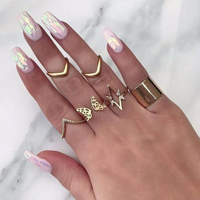 Cute Gold Butterfly Ring Set for Teens Unique Stackable Arrow Midi Knuckle Rings in Gold  - www.MyBodiArt.com #rings