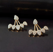 Cute Crystal Teardrop Pear Ear Jacket Earring for Women Fashion Jewelry Ideas in Silver, Gold, Rose Gold - www.MyBodiArt.com