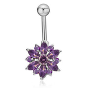 Cute Purple Crystal Flower Belly Button Ring Piercing Stud in Silver - www.MyBodiArt.com