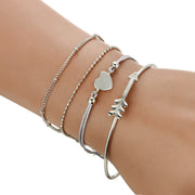 Cute Dainty Bracelet Set Stacked Girly Feminine Heart Crystal Chain Bangle Bracelets in Silver Fashion Jewelry for Teen Girls for Women - www.MyBodiArt.com #bracelet