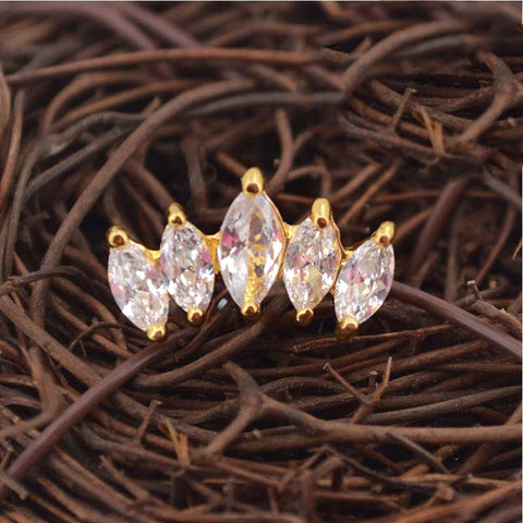 Krone Crown Ear Piercing Jewelry 16G Stud Rose Gold - www.MyBodiArt.com