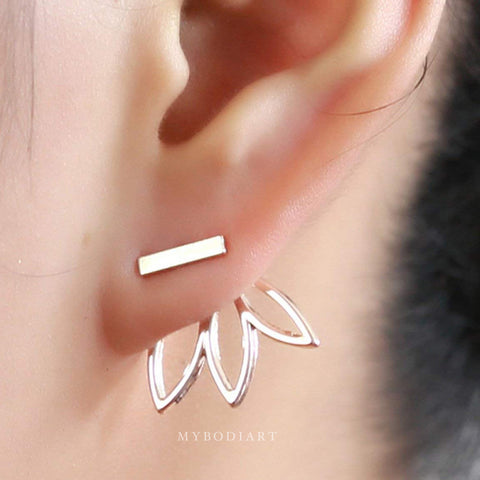 Minimalist Starburst Lotus Ear Jacket Earring in Gold or Silver Womens Fashion Jewelry -  lindos pendientes de loto - www.MyBodiArt.com