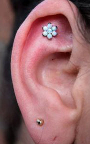 Cool Pretty Tumblr Ear Piercing Ideas at MyBodiArt.com - Flora Opal Flower Cartilage, Tragus, Rook, Conch, Triple Forward Helix Earring Jewelry Studs