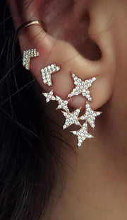 Unique Trendy Cartilage Conch Lobe Ear Piercing Ideas for Teenagers - Modern Crystal Star & Arrow Earrings Jacket in Gold -  moderno cristal estrella flecha oreja chaqueta pendiente oro lindo oreja lóbulo espárragos - www.MyBodiArt.com