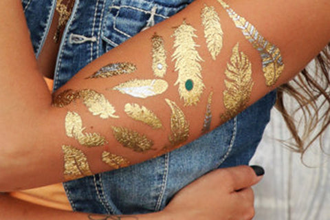 Metallic Gold Feather Tattoo Ideas for Women - Arm Sleeve Tatt - MyBodiArt.com