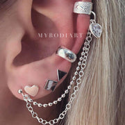 Cute Multiple Ear Piercing Ideas Trendy Creative Cartilage Conch Ear Cuff Chain Earring Geometric Shaped Heart Studs Jewelry in Silver www.MyBodiArt.com #earrings