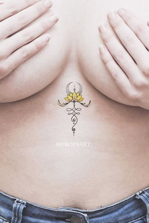 Small Minimalist Lotus Moon Sternum Tattoo Ideas for Women -  ideas de tatuajes de esternón de luna pequeña - www.MyBodiArt.com