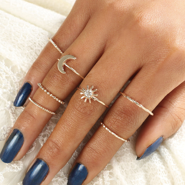 Cute Dainty Ring Set Moon Star Midi Stackable Rings Fashion Jewelry in Gold Women's Teen Girls - www.MyBodiArt.com #rings