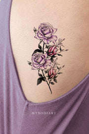 Beautiful Vintage Purple Watercolor Floral Flower Rib Tattoo Ideas for Women -  ideas de tatuajes de costillas de flores para mujeres - www.MyBodiArt.com #tattoos