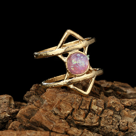 Cute Pink Opal Boho Ring Set for Teens Gemstone Modern Midi Knuckle Stackable Gypsy Fashion Rings in Gold - www.MyBodiArt.com #rings