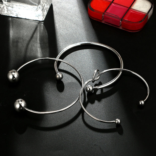 Modern Bracelet Set Stacked Artsy Knot Balls Bangle Bracelets in Silver Summer Fashion Jewelry for Teens Girls for Women - www.MyBodiArt.com #bracelets