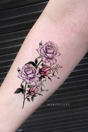 Beautiful Purple Watercolor Floral Forearm Back Tattoo Ideas for Women - ideas de tatuajes de flores en el antebrazo para mujeres - www.MyBodiArt.com #tattoos