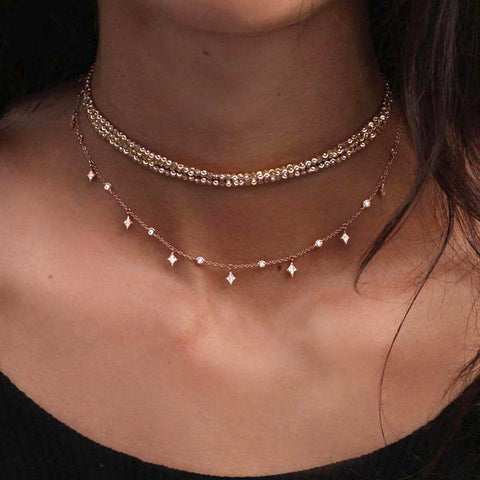 Statement Jewelry Necklace for Women - Double Layered Beaded Choker in Gold - www.MyBodiArt.com #necklace