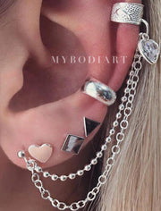 Ellie Ear Cuff Cartilage Chain & Geometric Shapes Earring Studs Set 5 Pieces